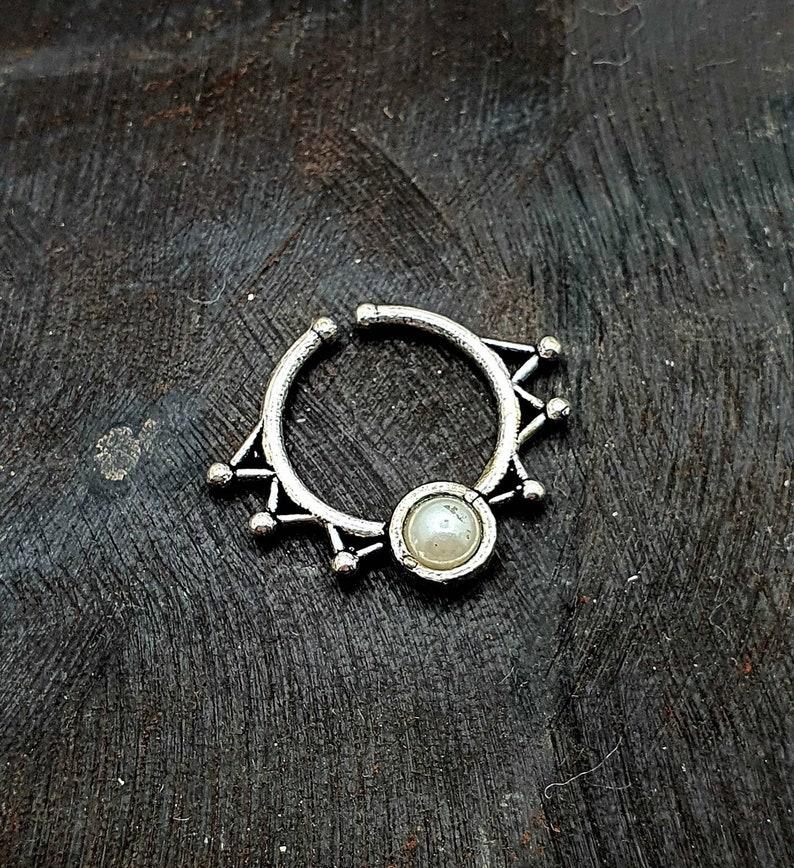 Silver Septum Ring Non pierced Septum Fake Boho Septum Bohemian Hippie Chic gift