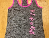 Ladies dry fit grey and pink tank top