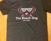 Beach Dog Logo shirt-Grey with Pink or Purple