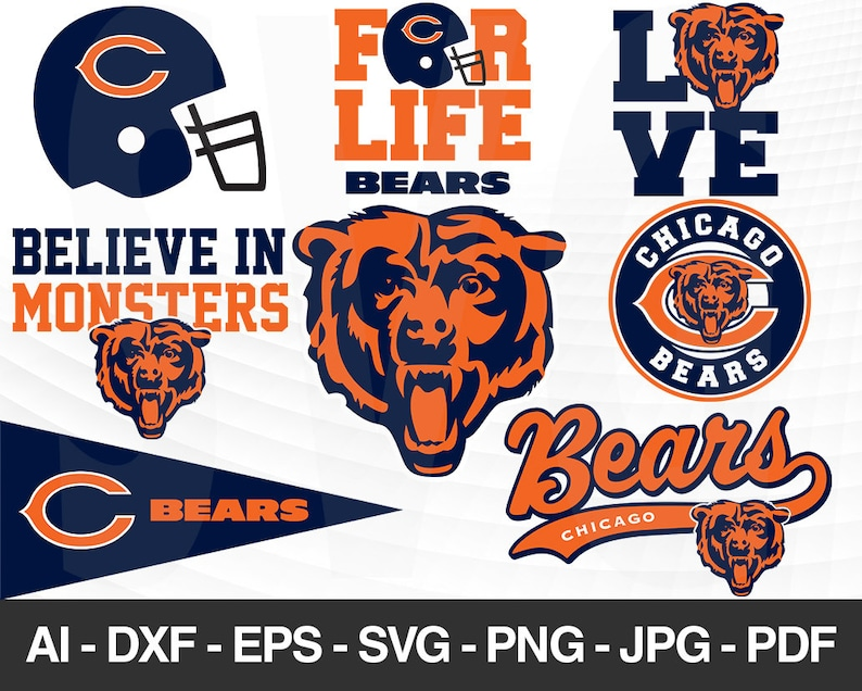 Chicago Bears Svg Chicago Bears Files Bears Logo Football Silhouette Cameo Cricut Cut File Digital Clipart Layers Png Dxf Ai