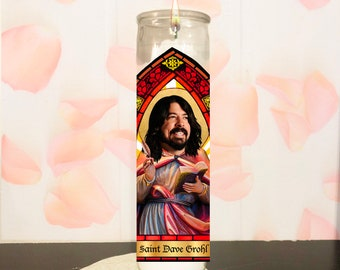 Musician Drummer Prayer Candle of Saint Dave Grohl | Celebrity Musician Votive Candle | Digitally Illustrated Parody Fan Art