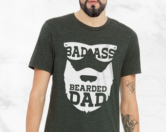 af222fe09 Badass Bearded Dad Shirt, fathers day gift, dad shirt, beard shirt, papa  shirt, funny fathers day, plus size clothing, dad gift tumblr shirt