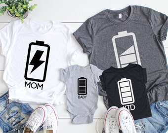 27fefa962 Funny family shirts, mom and son shirts, battery family, custom family  matching tees, father son shirts, family set