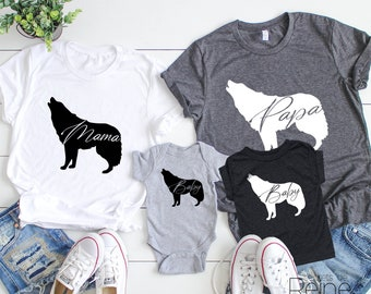 1bae1aab2b02 Wolf family shirts, matching tees, family matching, papa wolf, mama wolf,  baby wolf, plus size clothing, toddler shirts available