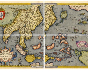 1570 Asia Japan America Unusual Historic Map 20x28 China