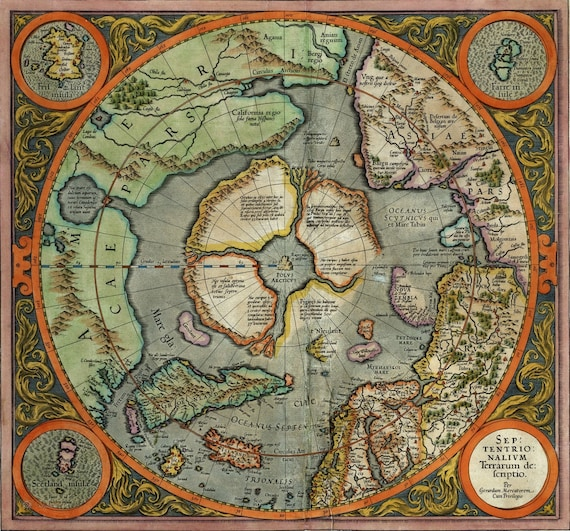 The First Map Of The North Pole By Gerardus Mercator Digital Etsy
