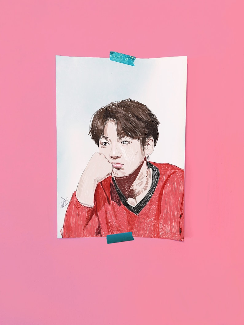 Kawaii Cute Jeon Jungkook BTS Fan art - Illustration print - A4  Illustration Art