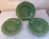 Bordallo Pinneiro Portugal Majolica Cabbage leaf lot of 3 bread plates Vintage beautiful 7 3 4 inches dessert plates