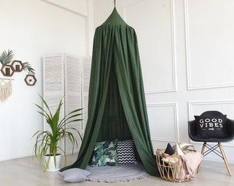 Cotton Canopy, nursery canopy , dark green color canopy , canopy with mat , cozy nursery canopy , baldachin canopy , woodland nursery