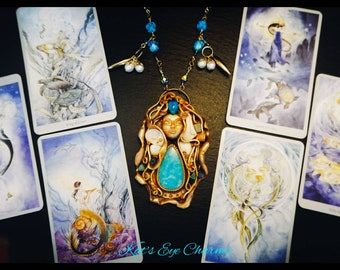 Sea goddess necklace, crystal healing, wiccan jewelry, protection amulet, spiritual necklace, pagan necklace, nautical jewelry, goddess