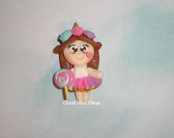Girl and her toy friend  clay doll flat back bow center jewelry lanyards embellishment crafts key chains  frames needle minder name tags