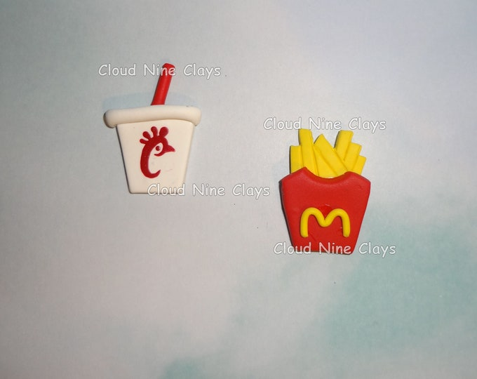 1* Fast food French fries or soft drink clay flat back bow center embellishment crafts jewelry lanyard name tag key chains badge reels