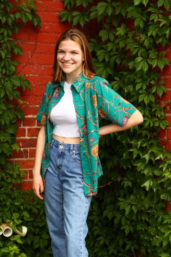 Vintage 80's 90's Gucci Inspired Print Shirt Unise