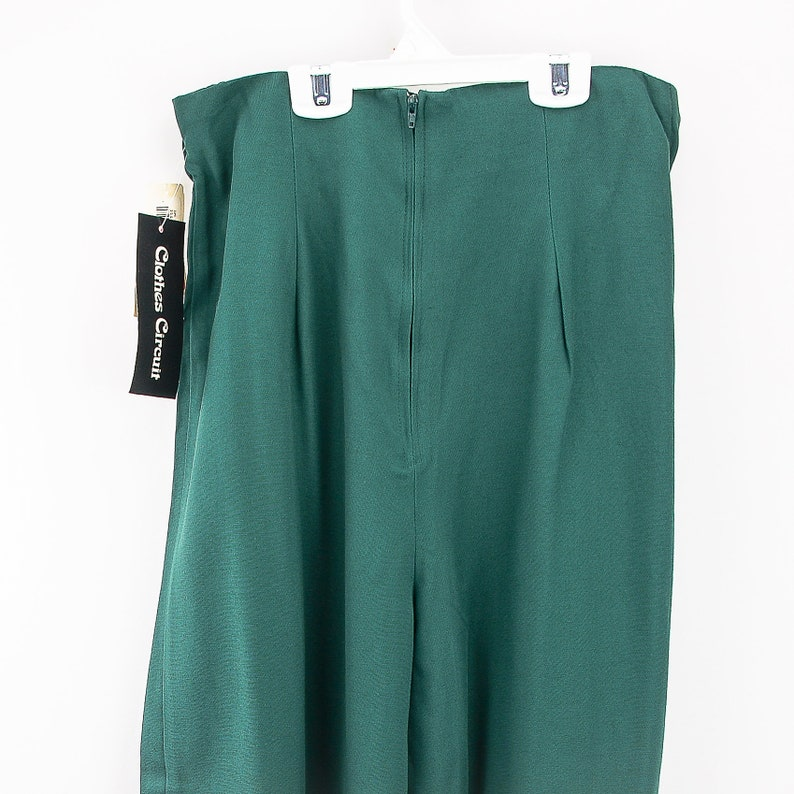 Vintage Size 9 Dark Green Rayon Pleated Pants With A Hollywood Waist 90s New Old Stock
