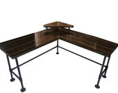 L-shape computer desk table custom made to order Steel and Wood