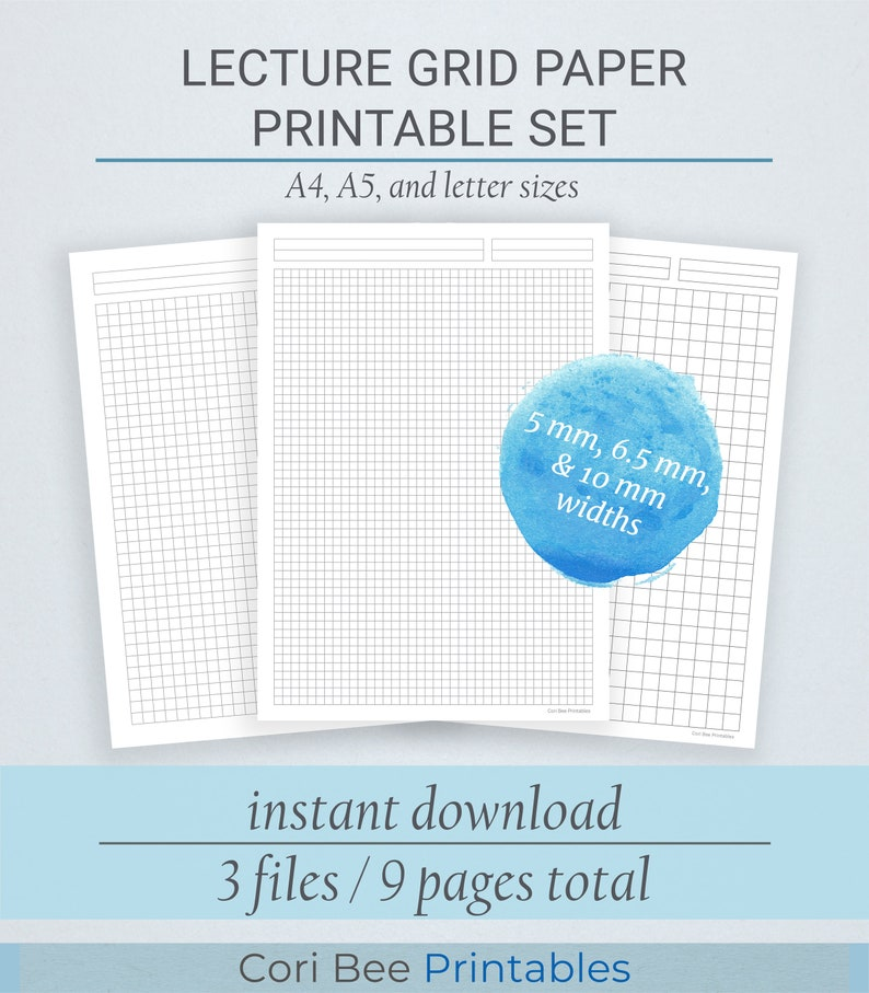 Lecture Grid/Graph Paper Printable Set | Printable PDF | Instant Download |  A4, A5, and Letter | Math Grid, Graph Paper, Math Notes, School