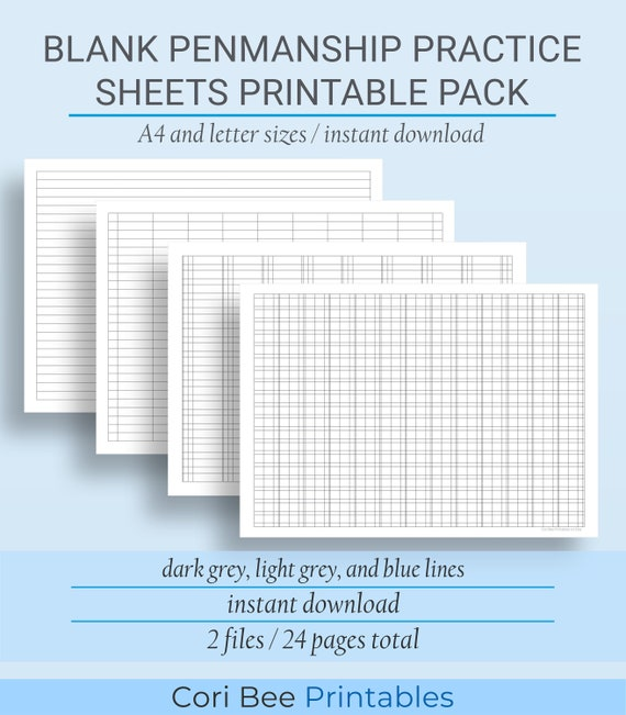 Blank Penmanship Handwriting Practice Sheets Printable Pack Etsy
