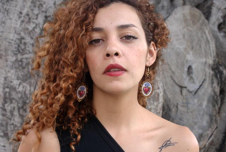 heart earrings Aretes Sagrado Coraz\u00f3n aretes de coraz\u00f3n handmade earrings aretes artesanales Sagrado corazon earrings aretes mexicanos