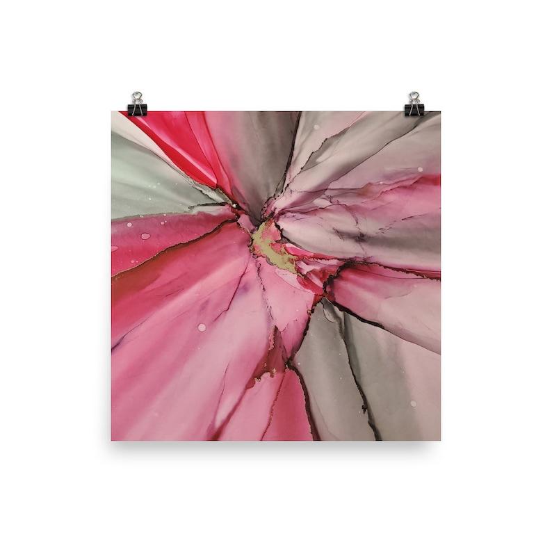 Pink Gold Grey Brass Abstract Artwork Print Alcohol Ink Modern Contemporary Wall Art Decor 8x10 10x10 11x14 12x12 12x18 16x20 18x24 etc