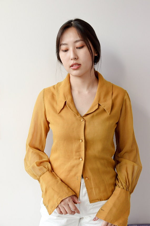 Vintage Mustard Yellow Blouse - Frank Lee of Calif