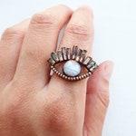 Multi Tourmaline   Rainbow Moonstone   Eye Ring size 5.5