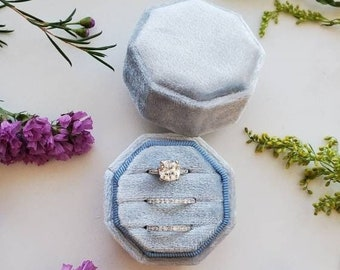 TRIPLE Velvet Ring Box | Octagon Three Slot | Engagement Ring & Wedding Set Elegant Keepsake Box, Bridal Photo Props, Ring Bearer, Gift Box