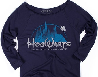 e0163ced0 Hogwarts School of Witchcraft & Wizardry | Terry Raglan T-Shirt | Harry  Potter World Disney Parody | Hogwarts Castle