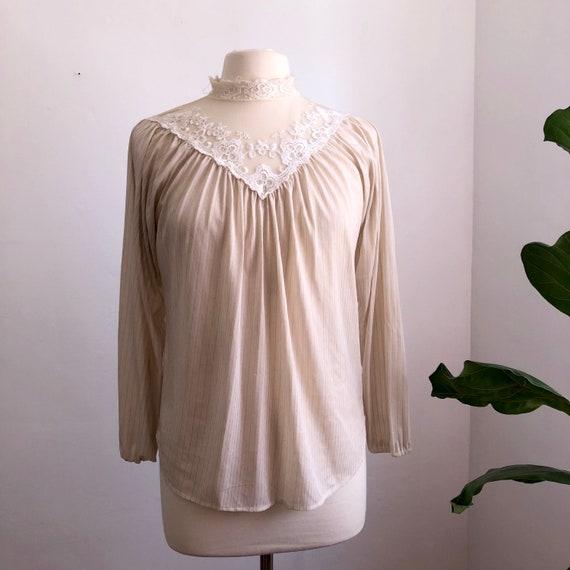 Vintage 80s Beige Long Sleeve Lace Smocked Secreta