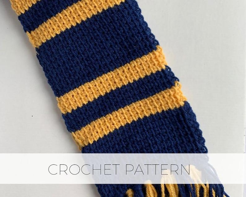 Combination House Scarf / Digital PDF Crochet Pattern Tunisian image 0