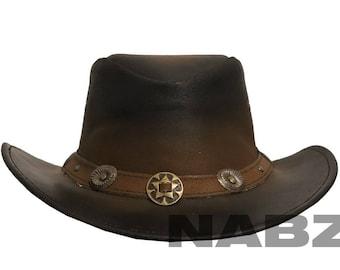 4d551d2fb24d1 Leather Cowboy Western Aussie Style Hat Brown Concho