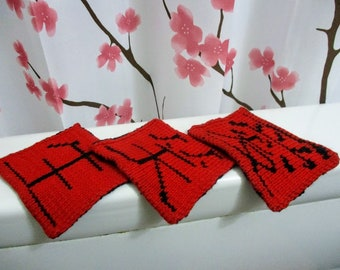 bathroom Unique gift for home housewarming dishcloths Live Laugh Love Luxury wash cloths in Japanese Kanji