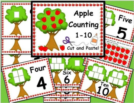Apple Counting 1-10 Cut and Paste