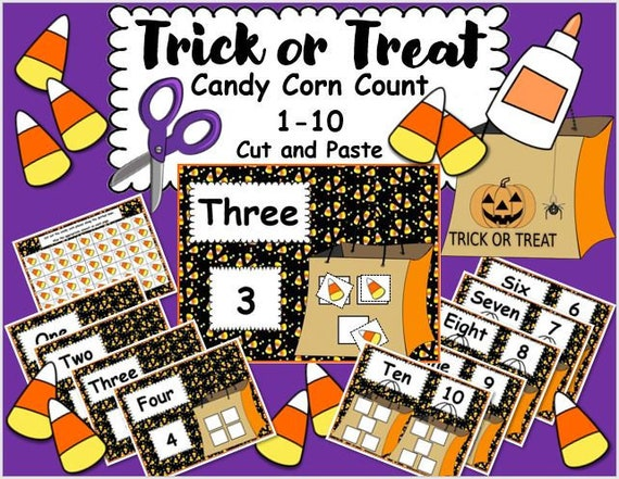 Trick or Treat Candy Corn Count 1-10 Cut and Paste