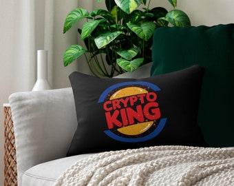 """Crypto King Spun Polyester Lumbar Pillow 14"""" x 20"""" For Home Bar Decor - Gift for Bitcoin, Etherium, Altcoins, Crypto, Nft Fans"""