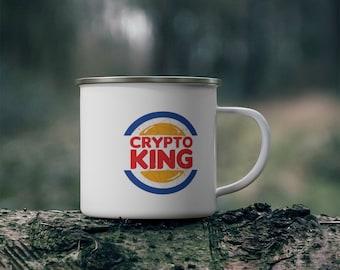 Crypto King Enamel Camping Mug 12oz  For Tea Coffee - Gift for Bitcoin, Etherium, altcoins, crypto, nft fans