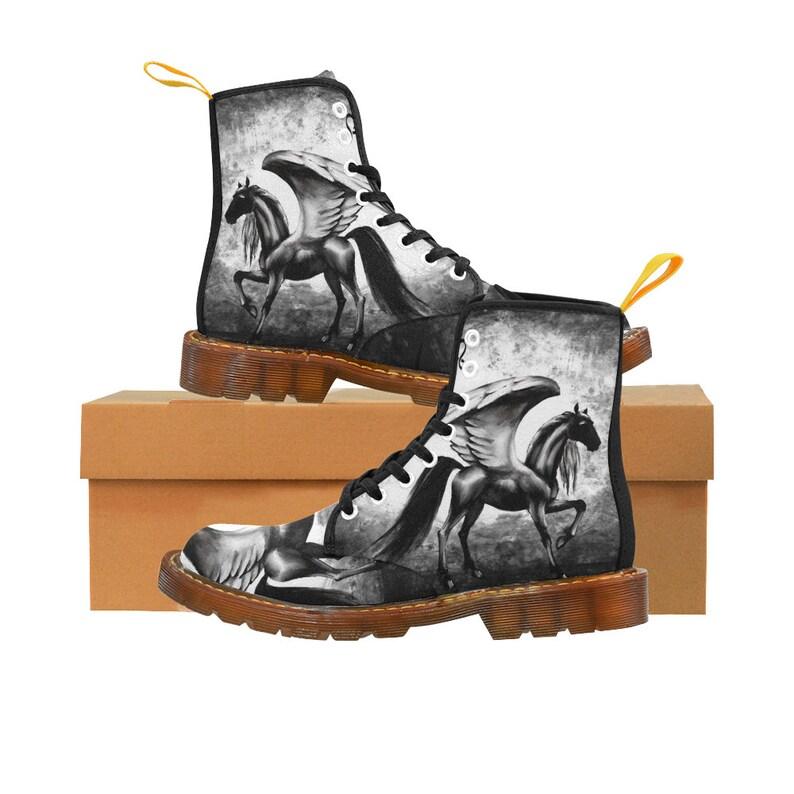 Black Pegasus Drawing custom Women/'s Boot