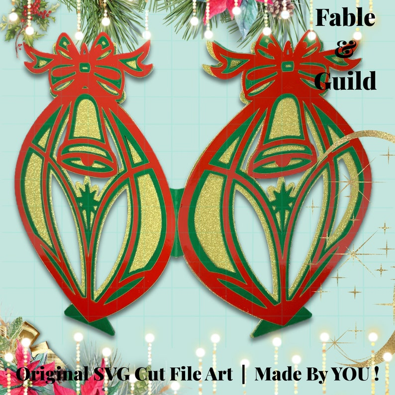 SVG Christmas Decoration Card SVG 3D Layered Festive Bell Holiday Tree Ornament Easy Paper Vinyl Cut File Cricut ScanNCut Silhouette Cameo