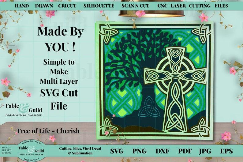 Lucky Celtic Knot Irish St Patricks Day Silhouette ScanNCut 3D Multi Layered Cricut Cut File Cricut 3D Tree of Life File SVG Celtic Cross