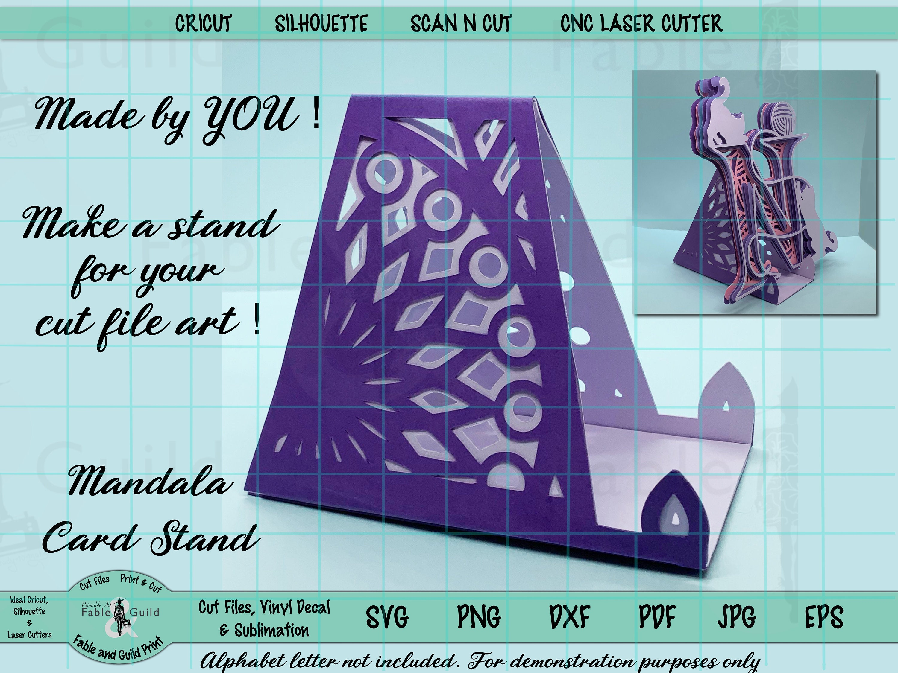 21D Mandala SVG Cut File, Cricut Gift Card Holder Art Stand Silhouette Scan  N Cut Display Photo Place Card Multi layer Template Download PNG With Regard To Card Stand Template