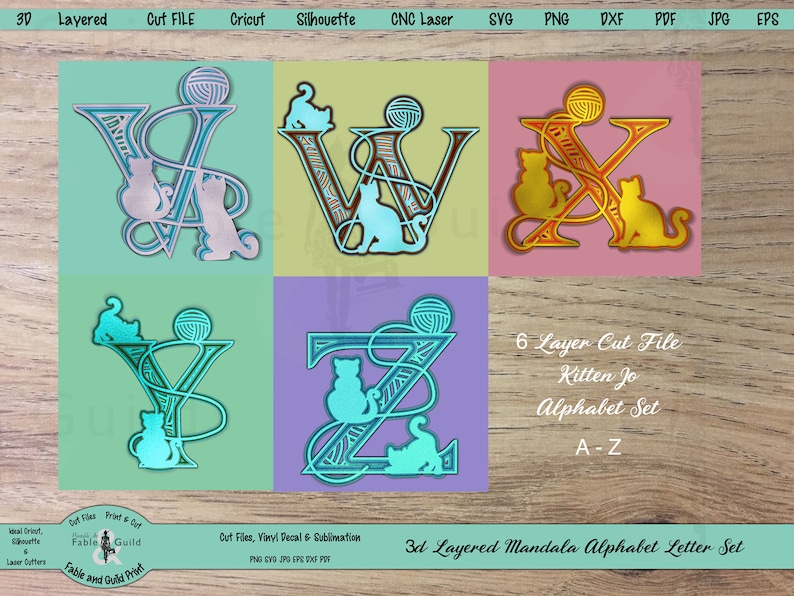 Download 3D layered Mandala SVG Alphabet Cricut Multi Layer Cut ...