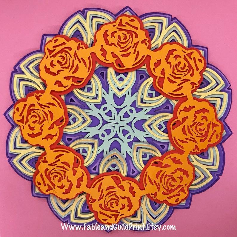 Download Multi Layer Rose Mandala Cricut SVG Cut File Cricut Flower ...