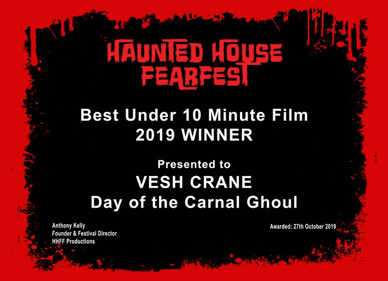 Haunted House FearFest Hard Copy Certificate image 0