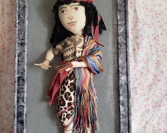 Nefi the Old World prophet - 15 inch soft body art doll mounted on burlap canvas on 24 x 12 inch frame