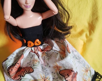 Mariposa monarch butterfly dress for barbie disney and other 11.5 to 12 inch doll