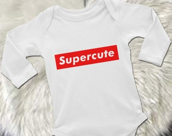 09cd870086 Supreme Inspired Long Sleeve Baby Bodysuit Onesie Designer Infant or  Toddler Clothing White Black and Heather Gray One Piece