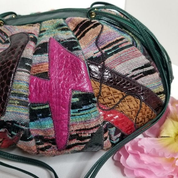 Vintage 80s Sharif Tapestry & Leather Pouch Bag - image 8