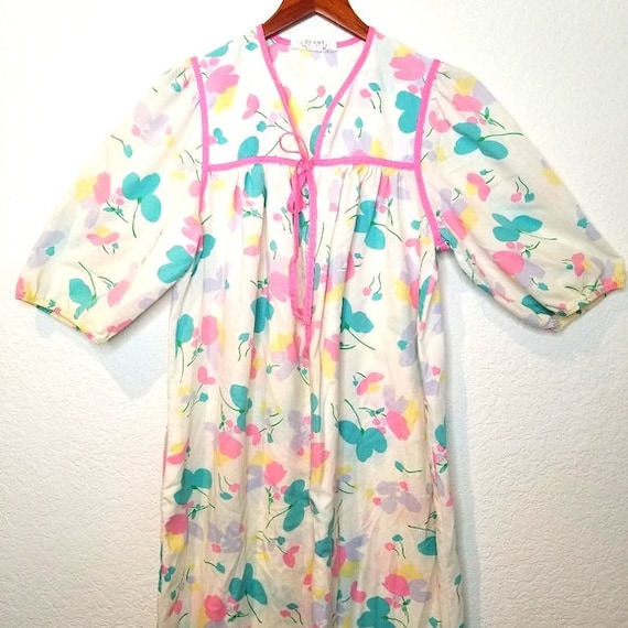 Vintage Komar Womens Floral Loungewear Gown Hostes