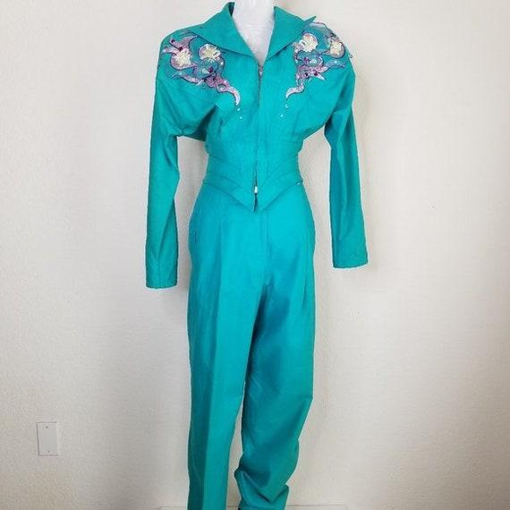 Vintage 90s Womens Western Pant Suit Teal Rodeo We