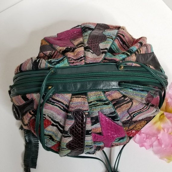 Vintage 80s Sharif Tapestry & Leather Pouch Bag - image 9