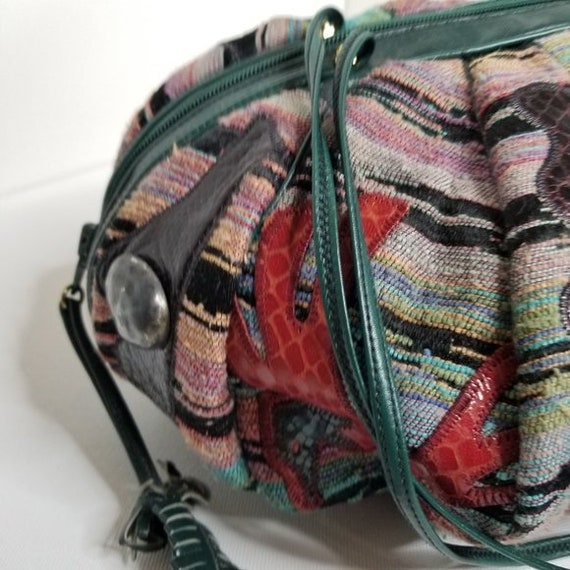 Vintage 80s Sharif Tapestry & Leather Pouch Bag - image 7